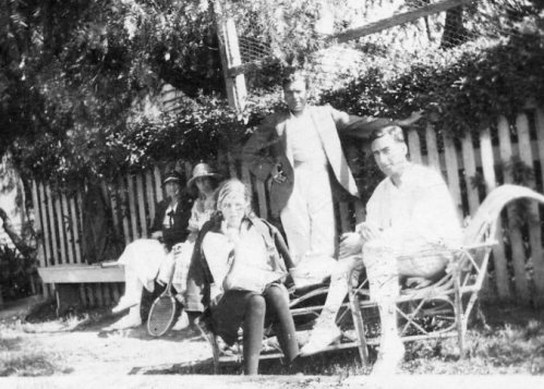 Peggy Beatty; Gordon Forster; Stan Forster in garden at Carron Vale, Mooroolbark, Victoria c. 1922