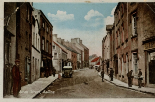 Postcard photograph of Arran Street, Ballina. From Milton series. No date