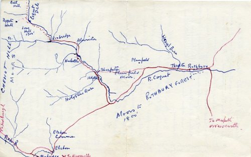 Map of R. Coquet with Bygate Hall from Jack F 1962