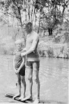 Peggy Beatty and Gerald Degan(?) at Tiverton dam, Mooroolbark, Victoria c. 1921
