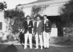 Harold Beatty; Archibald Beatty and Doug Perdriau (?) outside Carron Vale, Mooroolbark, Victoria c. 1925