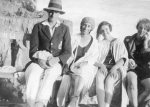 Harold Beatty; Hilda Forster; Peggy Beatty and Winifred Blair on Mentone beach, Victoria c. 1925