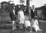 Archibald, Constance, Harold and Peggy Beatty; Stan, Gordon and Hilda Forster by garden gate at Carron Vale, Mooroolbark, Victoria c. 1925