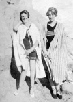 Peggy Beatty and Winifred Blair on the beach at Mentone (?) c. 1925