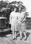 Constance Beatty and Peggy Beatty with Peg's new Armstrong Siddeley, Dec 1927