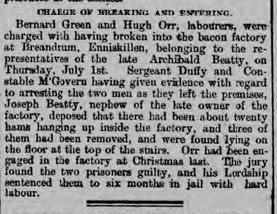 Archibald's nephew is a Joseph Beatty - Belfast Newsletter 9 July 1897