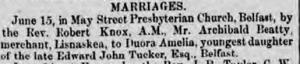 Archibald Beatty, merchant of Lisnaskea. Marriage 17 June 1858