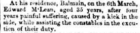 Death of Edward McLean, Sydney Morning Herald 8 March 1853, via TROVE
