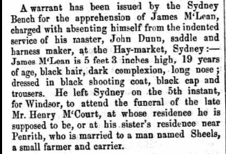 James McLean in NSW Police Gazette 14 June 1858