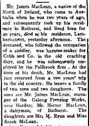 Death of James MacLean, Saddler, of Bathurst, Jan 1916