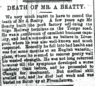 Archibald Beatty burial at Fivemiletown 1897