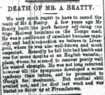 Archibald Beatty burial at Fivemiletown1897