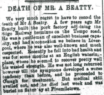 Archibald Beatty burial at Fivemiletown 1897